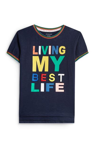 Stacey Solomon Younger Boy Navy Slogan T-Shirt