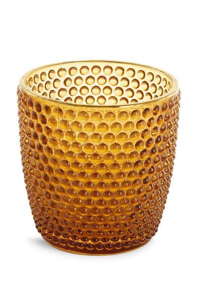 Bougeoir doré à texture bulles