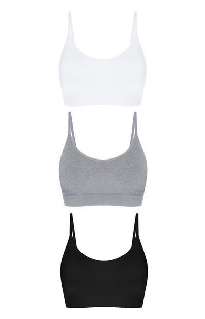 Pack 3 soutiens s/costuras branco/cinzento/preto