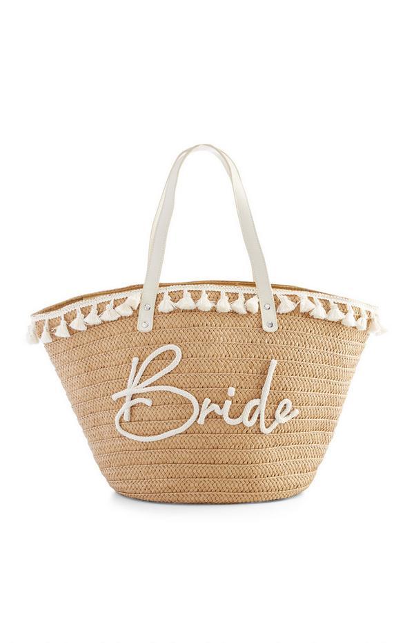 Bolso tote playero de paja con mensaje «Bride» en crochet