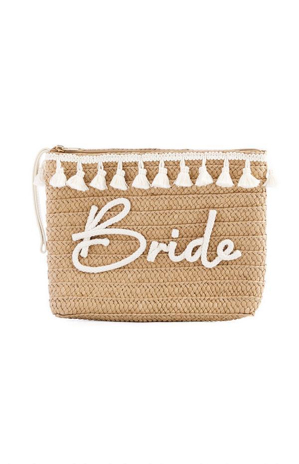 Bride Slogan Woven Straw Clutch Bag