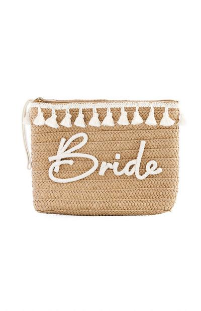 Bride Slogan Woven Straw Clutch Bag