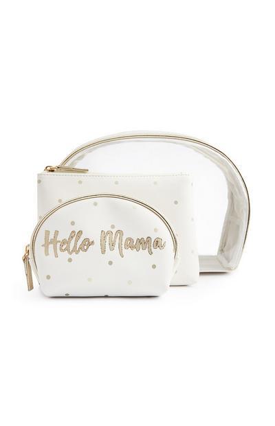 """Make-up-Taschen aus Plexiglas und in Weiß mit """"Hello Mama""""-Schriftzug"""