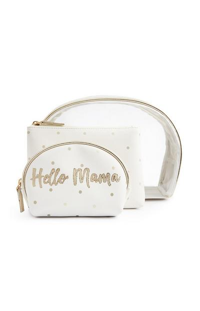 White Hello Mama Slogan Perspex Make-Up Bags