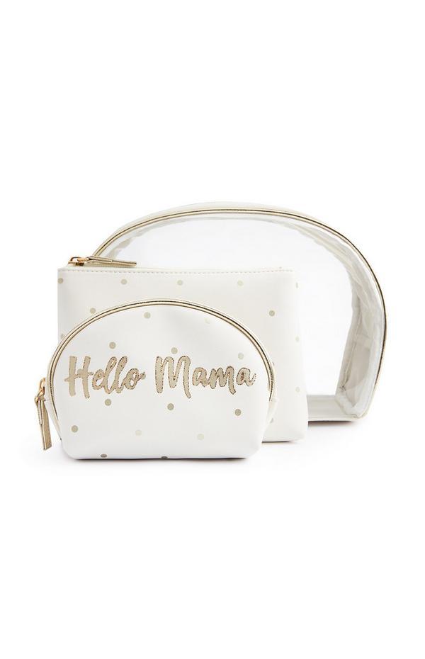 Witte make-uptasjes van perspex Hello Mama