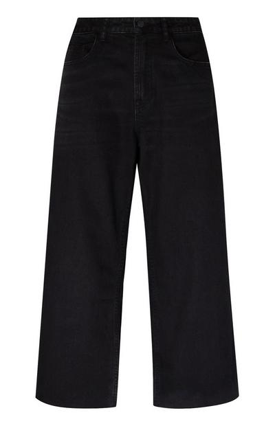 Jeans neri a gamba larga