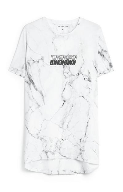Marble Printed Slogan T-Shirt
