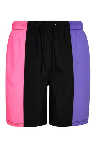 Vertical Black Pink And Purple Colorblock Swim Shorts
