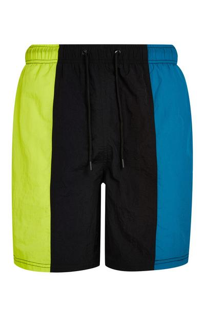Vertical Black Green And Blue Colorblock Swim Shorts
