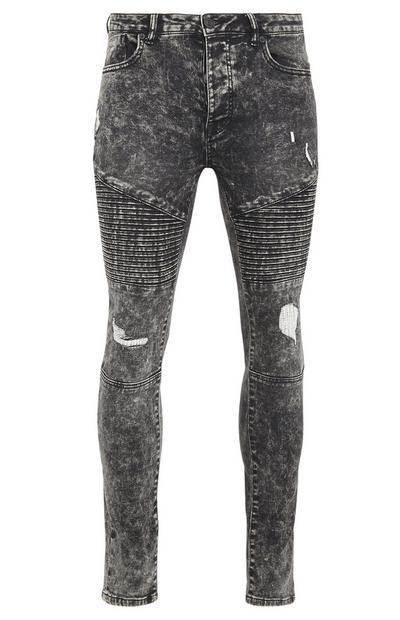 Graue, ausgebleichte Biker-Hose in Denim-Optik mit schmaler Passform