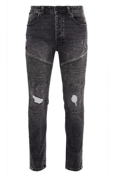 Washed Black Knitted Slim Biker Jeans