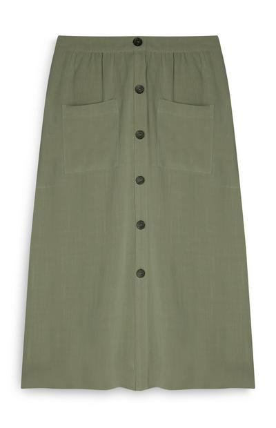 Olive Button Up Front Pocket Midi Skirt