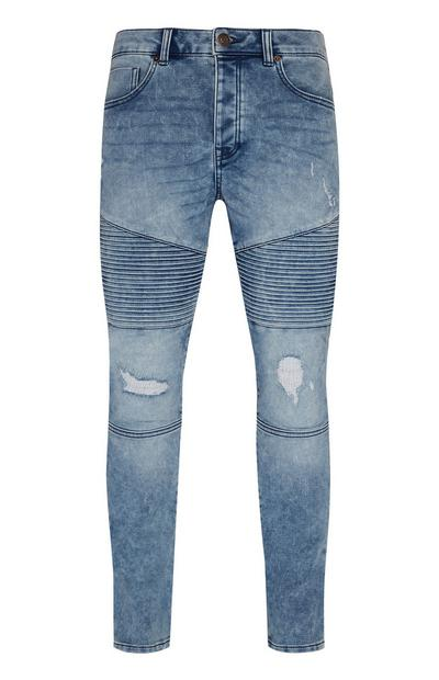 Denim Knit Biker Slim Jeans