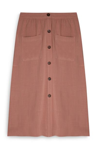 Pink Button Up Front Pocket Midi Skirt