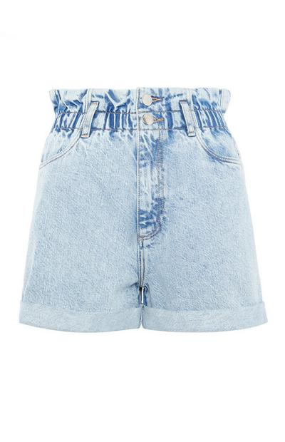 Hellblaue Mom-Shorts mit Stretch