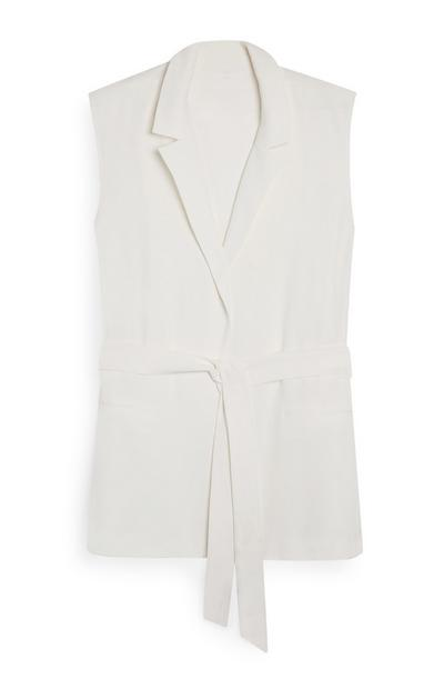 White Sleeveless Front Tie Blazer