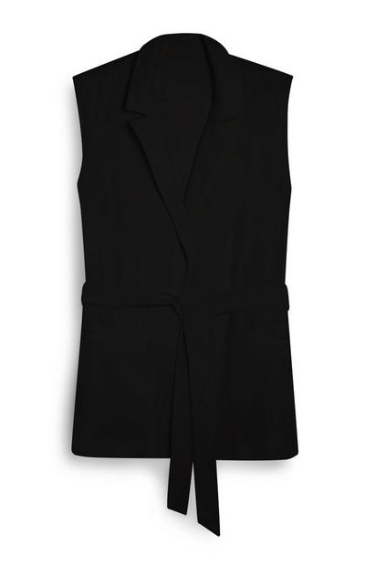 Blazer noir sans manches noué sur le devant