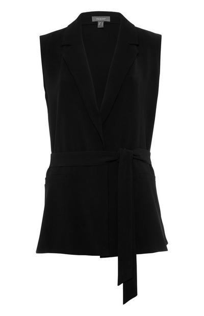 Gilet de costume en sergé noir à ceinture