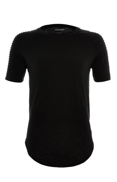 T-shirt de motard noir à manches raglan