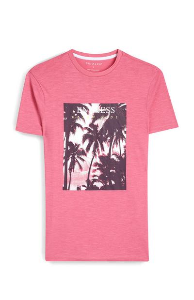Pink Palm Tree Photograph T-Shirt