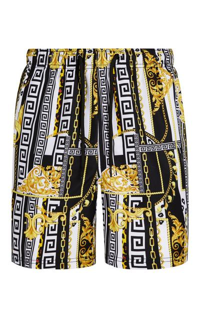 Black And Gold Baroque Print Swim Shorts