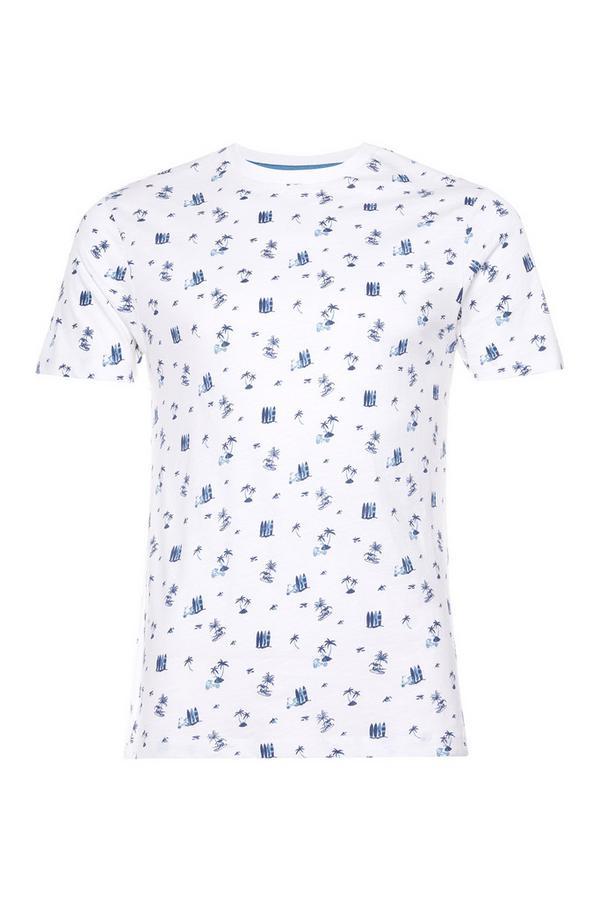 Weißes T-Shirt mit Surfer-Print