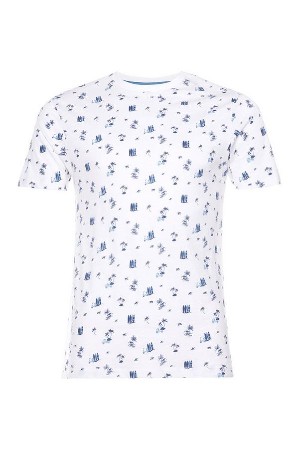 White Ditsy Surfer Print T-Shirt