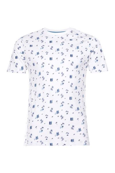 T-shirt bianca ditsy con stampa Surfer