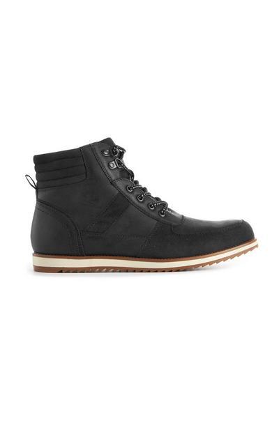 Black Biker Lace Up Boots
