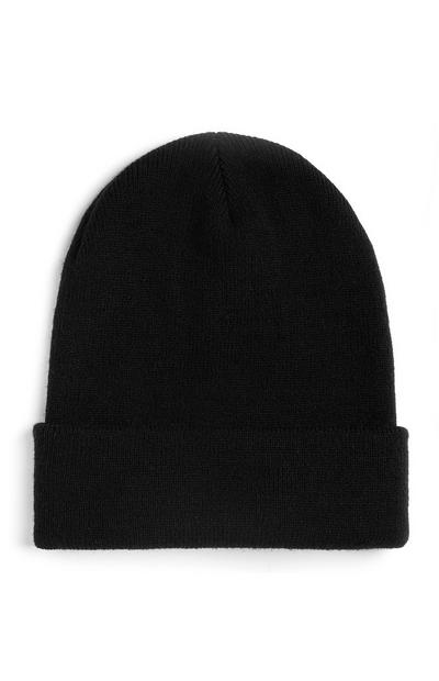 Black Deep Cut Beanie