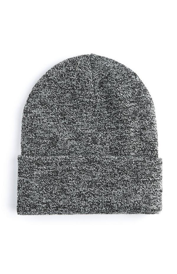 Berretto grigio con risvolto ampio