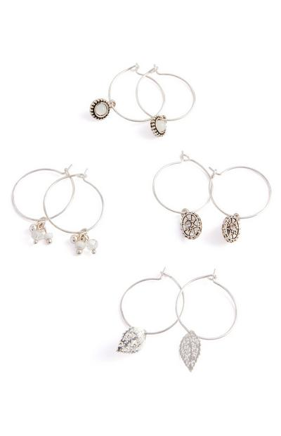 4-Pack Silver Delicate Charm Hoop Earrings