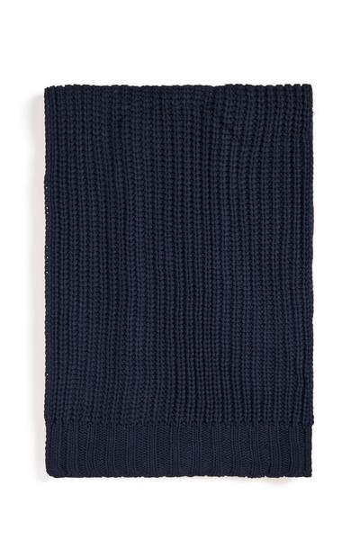 Écharpe bleu marine en maille épaisse