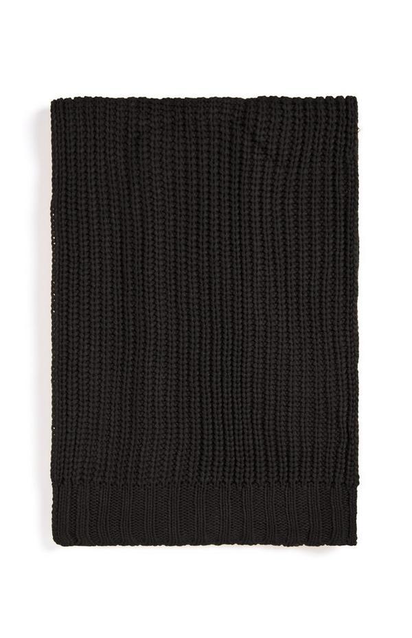 Zwarte grofgebreide sjaal
