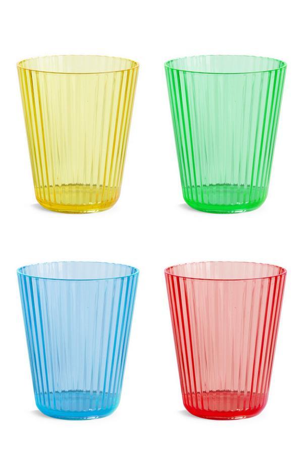Kleurrijke plastic tumblerglazen, 4 st.