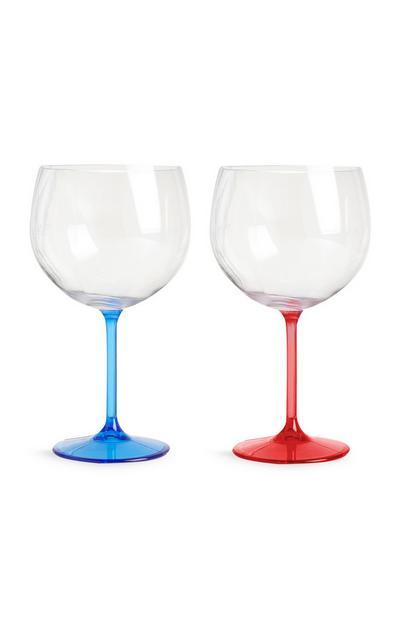 Pack 2 copos gin azul e vermelho