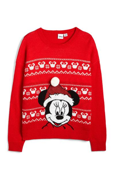 Red Minnie Mouse Fair Isle Christmas Jumper