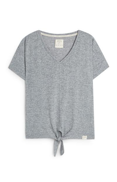 Recycled Yarn Grey V Neck Tie Front T-Shirt