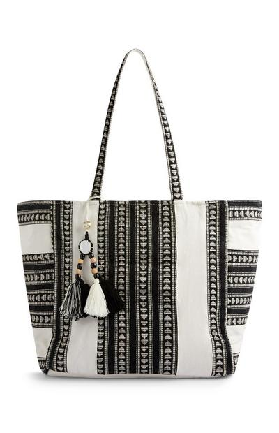 Black And Cream Jaquard Beach Bag