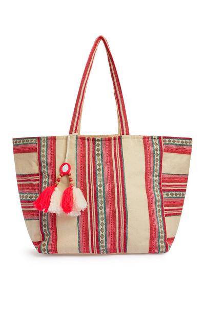 Pink And Cream Striped Jacquard Beach Bag