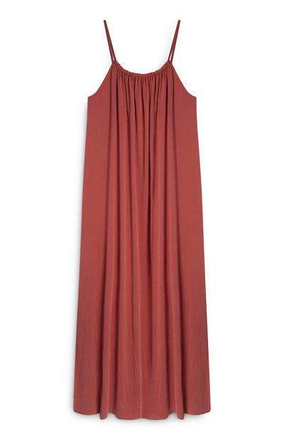 Robe longue en modal rouge cannelle à bretelles