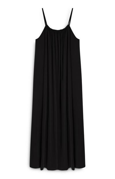 Schwarzes Maxi-Trägerkleid aus Modalfasern