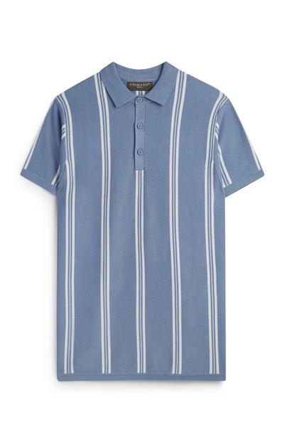 Kem Cetinay Blue Stripe Knitted Polo Shirt
