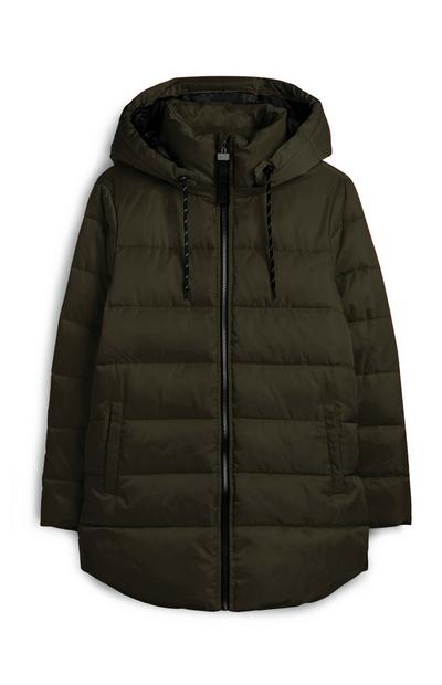Khaki Hooded Puffer Jacket