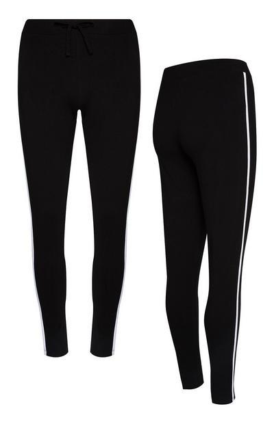 Black Side Stripe Drawstring Leggings