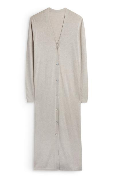 Cream Button Up Maxi Cardigan