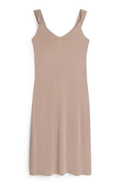 Light Brown Strappy Knot Midi Dress