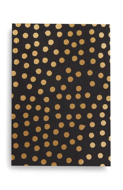 Black and Gold Dot Pattern B5 Notebook
