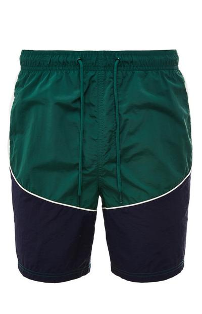 Green Colorblock Sporty Tie Waist Shorts