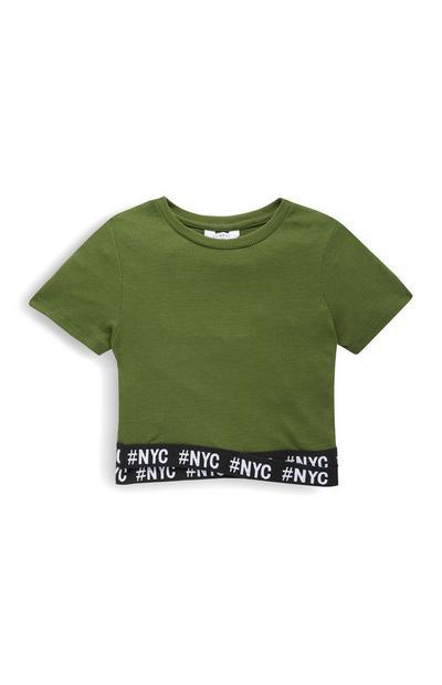Older Girl Khaki NYC Trim T-Shirt